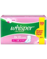 Whisper Sanitary Pads Ultra Soft XL+ 30 pcs