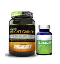 Advance Nutratech Combo of Weight Gainer Banana Flavor 2LBS & Glutamine Unflavor 100g