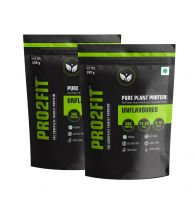PRO2FIT Vegan Plant protein powder with Pea protein Brown Rice and Mungbean Protein – UNFLAVOURED 500g (Pack of 2)