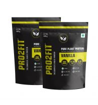 PRO2FIT Vegan Plant protein powder with Pea protein Brown Rice and Mungbean Protein – VANILLA 500g (Pack of 2)