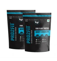 PRO2FIT Vegan Plant protein powder with Pea protein Brown Rice and Mungbean Protein – MINTY CHOCOLATE 500g (Pack of 2)
