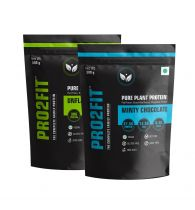 PRO2FIT Vegan Plant protein powder with Pea protein Brown Rice and Mungbean Protein – UNFLAVOURED 500g + MINTY CHOCOLATE 500g