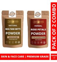 Ayur Blessing Multani Mitti and Rose Petals Powder Skin Care Products Combo, Face Pack, Skin Care (100 Gram * 2)