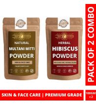 Ayur Blessing Multani Mitti and Hibiscus Powder Skin Care Products Combo, Face Pack, Skin Care (100 Gram * 2)