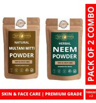 Ayur Blessing Multani Mitti and Neem Powder Skin Care Products Combo, Face Pack, Skin Care (100 Gram * 2)