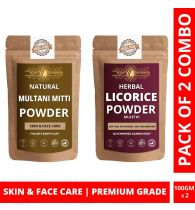 Ayur Blessing Multani Mitti and Licorice Powder Skin Care Products Combo, Face Pack, Skin Care (100 Gram * 2)