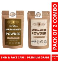 Ayur Blessing Multani Mitti and Chandan Powder Skin Care Products Combo, Face Pack, Skin Care (100 Gram * 2)