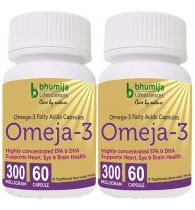 Bhumija Lifesciences Omega3 Fatty Acids (Omeja3) Capsules 60's -  (Pack of Two)