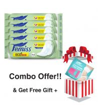 Femiss Dry Feel Day Sanitary Pad - ECO+ Regular,Pack Of 5 (Each -8 Pads) + Prep Razor (FREE GIFT)