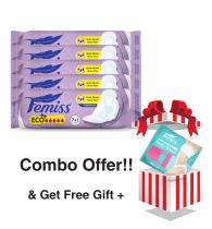 Femiss Super Soft Sanitary Pad - ECO++ Regular,Pack Of 5 (Each -8 Pads) + Prep Razor (FREE GIFT)