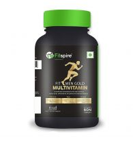 Fitspire Fit Men Gold Multivitamin | Immunity Booster with 46 Vital Nutrients, Amino Acids, Antioxidants & Premium Botanical Extracts | 60 Tablets