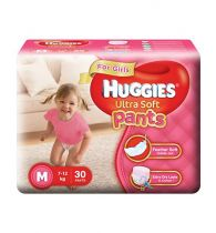 Huggies Ultra Soft Pants Medium Size Premium Diapers For Girls 30Pieces