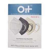 O2+ Anti Pollution Mask With N95 Active Carbon Grade Filter With One Valve (Pack of 4)