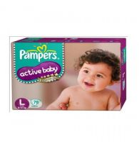 Pampers Active Baby Diapers - Large (9-14 kg) 78pcs Pouch