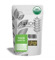 Sorich Organics Tulsi Green Tea - Detox Tea, Calming Tea, Relieves Anxiety and Stress - 100 Gm