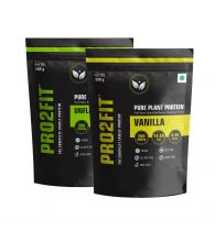 PRO2FIT Vegan Plant protein powder with Pea protein Brown Rice and Mungbean Protein – UNFLAVOURED 500g + VANILLA 500g
