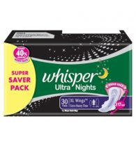 Whisper Sanitary Napkins Ultra Nights XXXL Wings 30 Pads