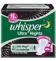 Whisper Sanitary Napkins Ultra Nights XXXL Wings 3 Pads