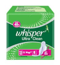 Whisper Sanitary Pads Ultra Clean XL Wings 15 Pads