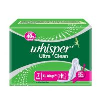 Whisper Sanitary Pads Ultra Clean XL Wings 7 Pads