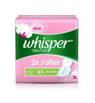 Whisper Sanitary Pads Ultra Soft Large 15 pcs