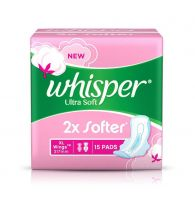 Whisper Sanitary Pads Ultra Soft XL+ 15 pcs