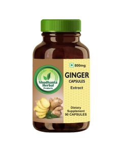 Shudhanta Herbal 100% Ginger 800mg Extract Herbal Capsules - 90 Herbal Vegetarian Capsules
