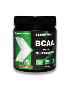 Muscletrex BCAA with Glutamine Powder, Tangy Orange - 300gm (0.66 lbs)