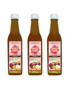 Health first Raw Apple Cider Vinegar - 500 ml - with strand of mother - Not from concentrate,Unfiltered,unpasturised (ACV(pack of 3))