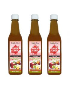 Health first Raw Apple Cider Vinegar - 500 ml - with strand of mother - Not from concentrate,Unfiltered,unpasturised (ACV with honey(pack of 3))