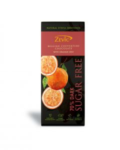 Zevic 70% Belgian Sugar Free Dark Chocolate with Orange Zest 40 gm - Natural Stevia Sweetened