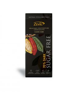 Zevic 70% Dark Belgian Couverture Chocolate  with Stevia - 40 gm Natural Stevia Sweetened