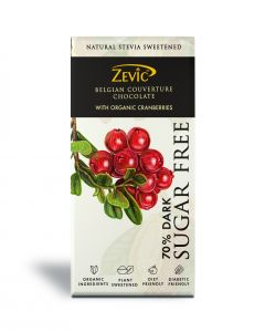 Zevic 70% Dark Belgian Couverture Chocolate with Organic Cranberries 90gm