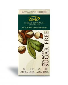 Zevic 70% Dark Belgian Sugarfree Chocolate with Organic Turkish Hazelnuts 90 gm - Sweetened with Stevia