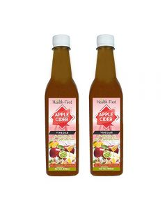 Health first Raw Apple Cider Vinegar - 500 ml - with strand of mother - Unfiltered and unpasturised ,high quality cider at low price (ACV with (H,G,G,L) pack of 2