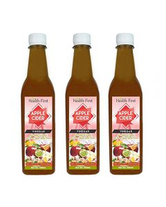 Health first Raw Apple Cider Vinegar - 500 ml - with strand of mother - Unfiltered and unpasturised ,high quality cider at low price (ACV with (H,G,G,L) pack of 3
