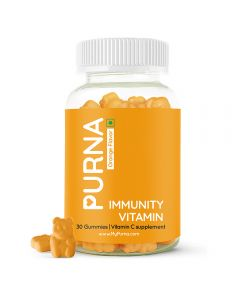 Purna Natural Orange Vitamin C & Zinc Vegetarian Gummies for Men, Women, Adults & Kids, with Essential Vitamins and Minerals for Immunity Boost, Skincare, Antioxidants & completes Nutrition Needs, 30 Gummy Bears, 1 daily