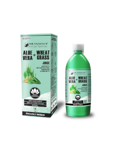 Dr. Vaidya's Aloevera and Wheatgrass Juice - Supports Detoxification , Digestion & Immunity (1 LTR) - Vegetarian , Zero Added Sugar