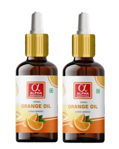 Alpha Essenticals Orange Essential Oil [Citrus sinensis], 100% Pure Aroma, Therapeutic Grade, Pack of 2, 15ml Each