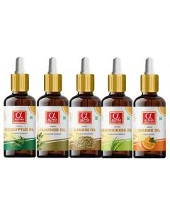 Alpha Essenticals Eucalyptus, Camphor, Ajwain, Lemongrass and Orange Essential Oil, Set of 5 oils Therapeutic Combo, 15ml Each