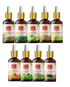 Alpha Essenticals Eucalyptus, Camphor, Lemon, Ajwain, Lemongrass, Orange, Lime, Cassia and Dill Essential Oil, Set of 9 oils, 15ml Each