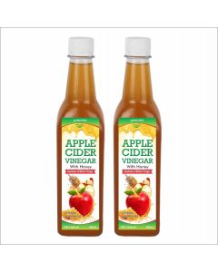 Apple cider with Honey with mother - 500 ml  Pack of 2