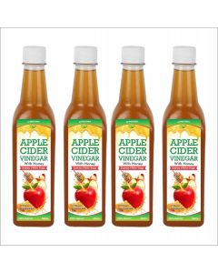 Apple cider with Honey with mother - 500 ml  Pack of 4
