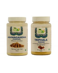 Indian Herbal Valley Natural and Pure Ashwagandha and Triphala Powder (100g Each) - For General Wellness