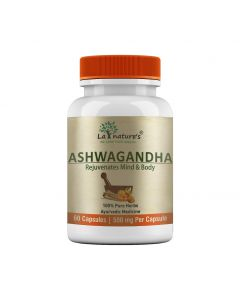 La Nature's Ashwagandha 500 mg |Stress & Anxiety Relief|Improves Blood Sugar Level| 60 Veg Capsules