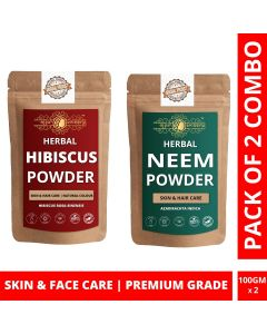 Ayur Blessing Hibiscus and Neem Powder Skin Care Products Combo, Face Pack, Skin Care (100 Gram * 2)