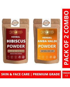 Ayur Blessing Hibiscus and Amba Haldi Powder Skin Care Products Combo, Face Pack, Skin Care (100 Gram * 2)