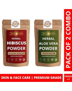 Ayur Blessing Hibiscus and Aloe Vera Leaf Powder Skin Care Products Combo, Face Pack, Skin Care (100 Gram * 2)