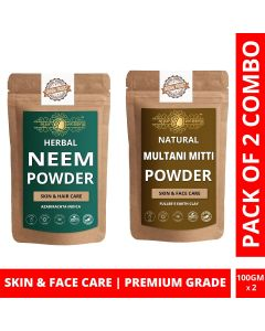 Ayur Blessing Neem and Multani Mitti Powder Skin Care Products Combo, Face Pack, Skin Care (100 Gram * 2)