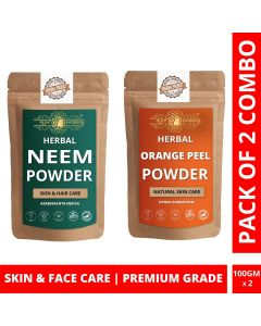 Ayur Blessing Neem and Orange Peel Powder Skin Care Products Combo, Face Pack, Skin Care (100 Gram * 2)